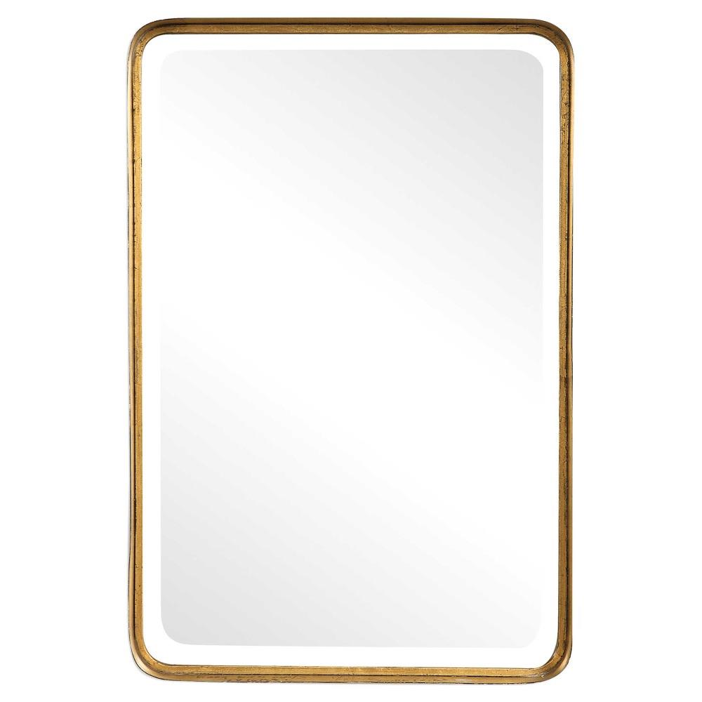 Rofel modern classic gold metal strap mirror kathy kuo home for Classic mirror