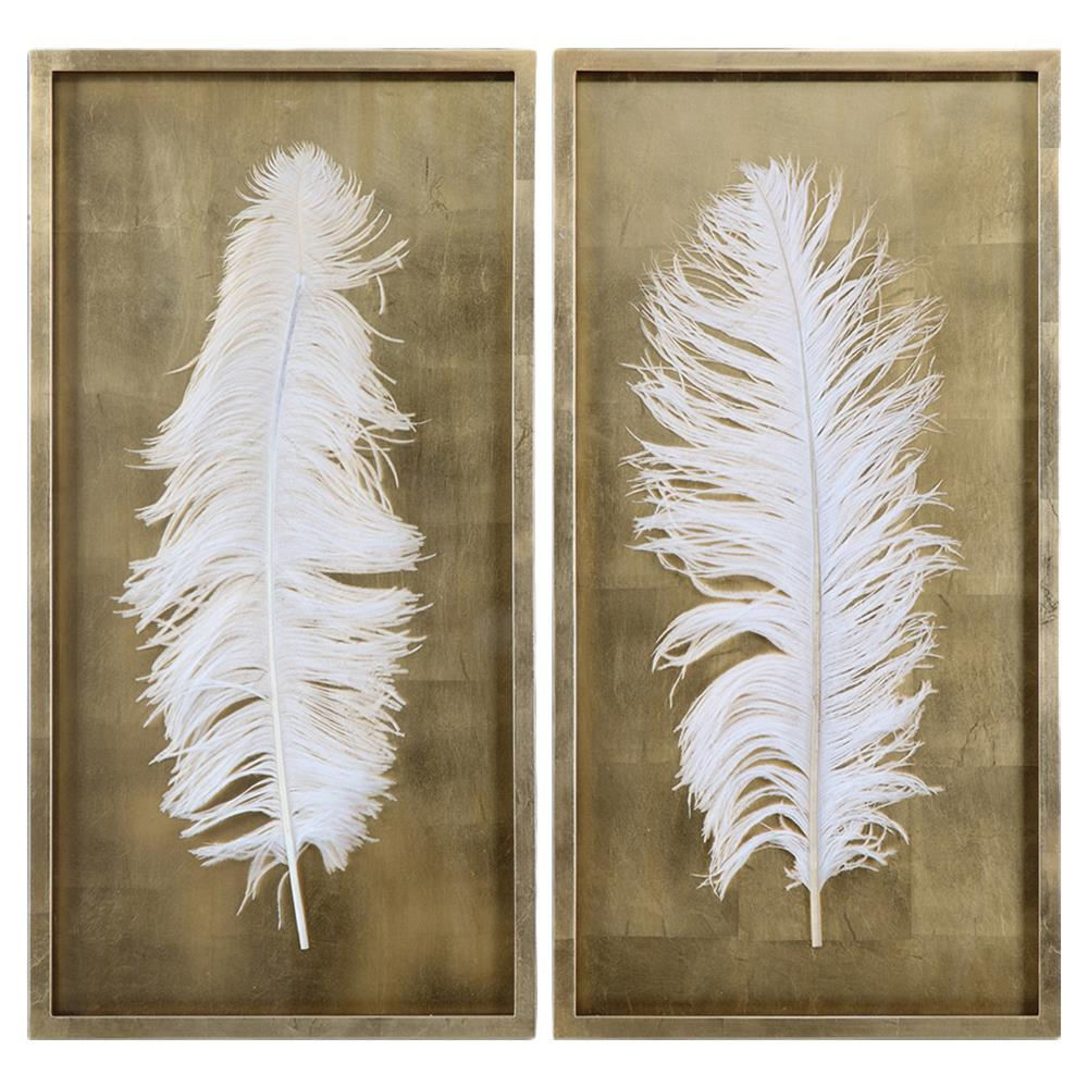 Hollywood Regency White Feather Gold Leaf Box Frame Set Of 2 Kathy Kuo Home
