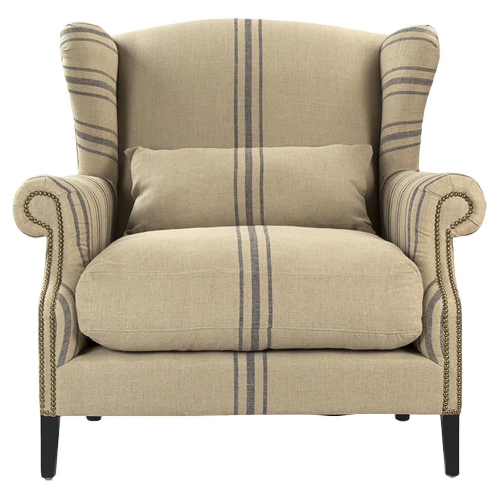 Delicieux Napoleon French Fog Linen Blue Stripe Wingback Accent Armchair | Kathy Kuo  Home ...
