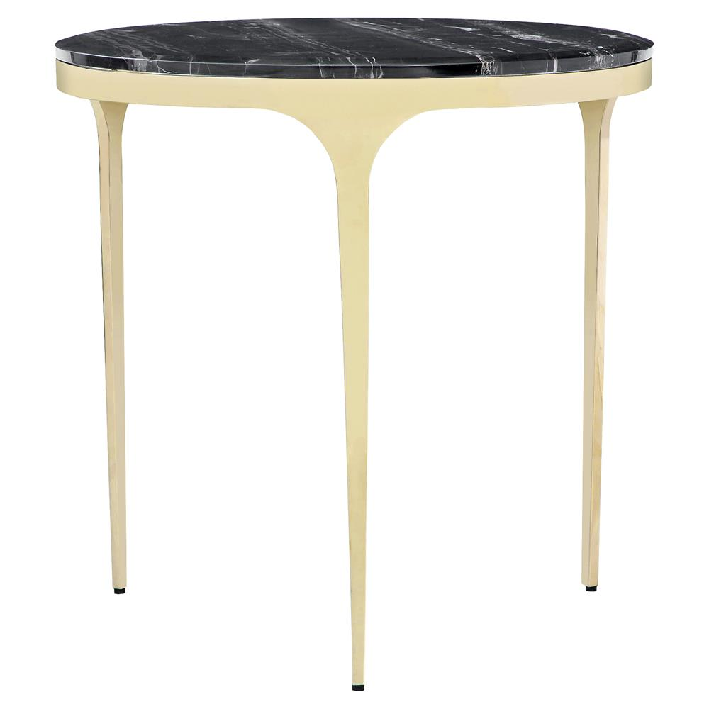 Interlude Camilla Modern Black Marble Round Gold End Table | Kathy Kuo Home