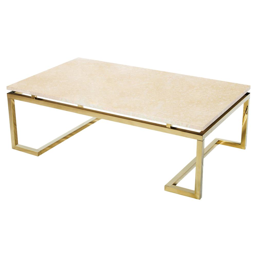 Iliana Regency Gold Cream Marble Coffee Table Kathy Kuo Home
