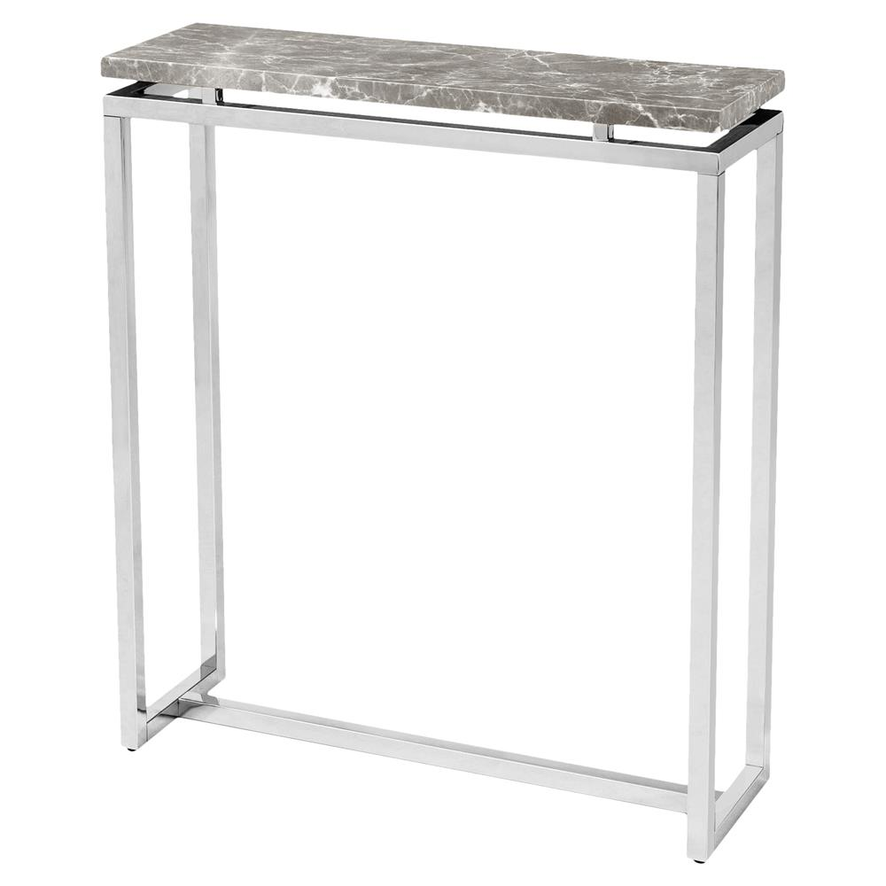 Interlude Harper Regency Silver Grey Marble Console Table 30w Kathy Kuo Home