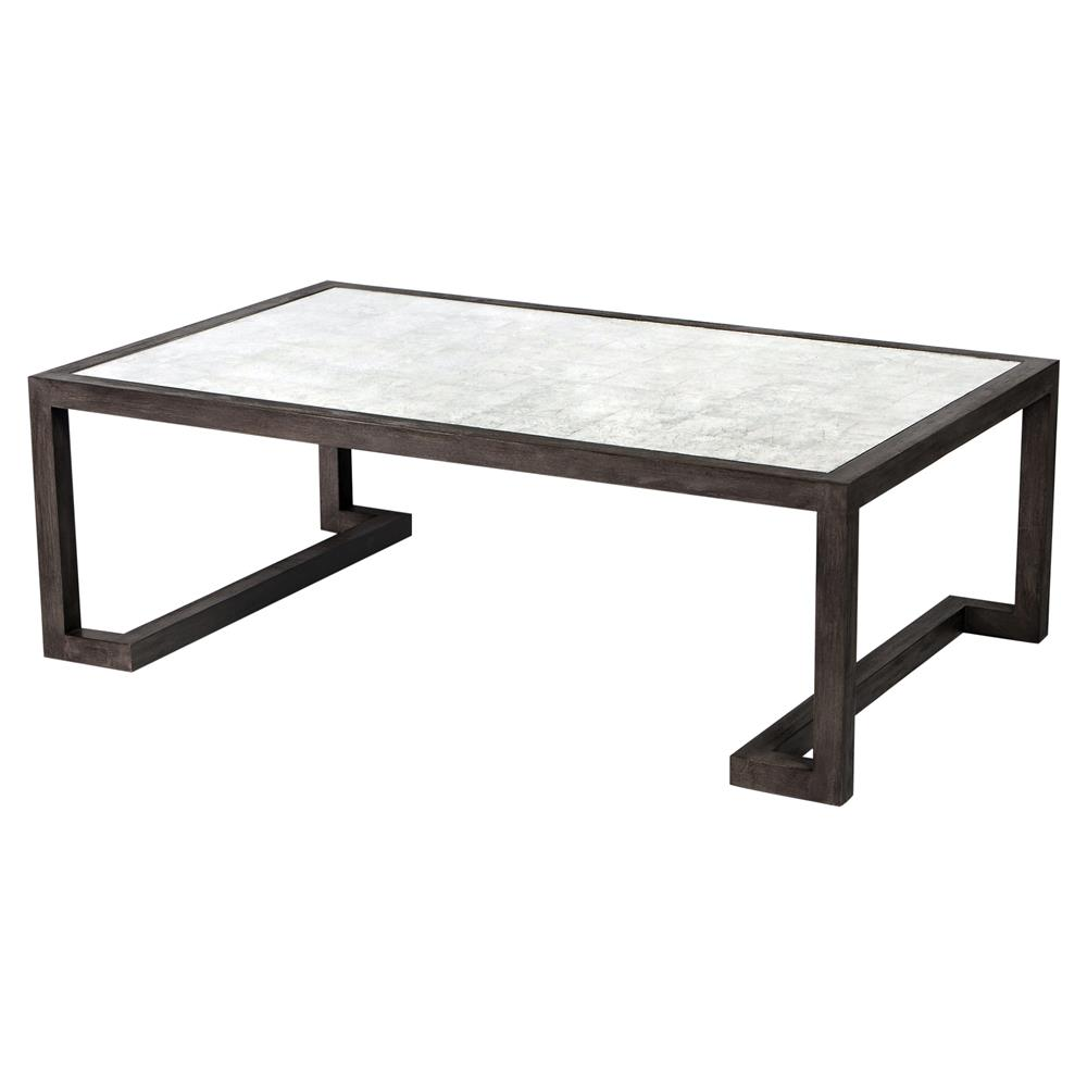 Emsley Modern Antique Eglomise Grey Wood Coffee Table 48w Kathy Kuo Home