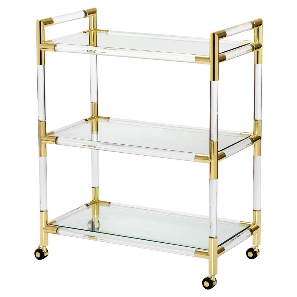 interlude julien modern classic acrylic brass tip bar cart. Black Bedroom Furniture Sets. Home Design Ideas