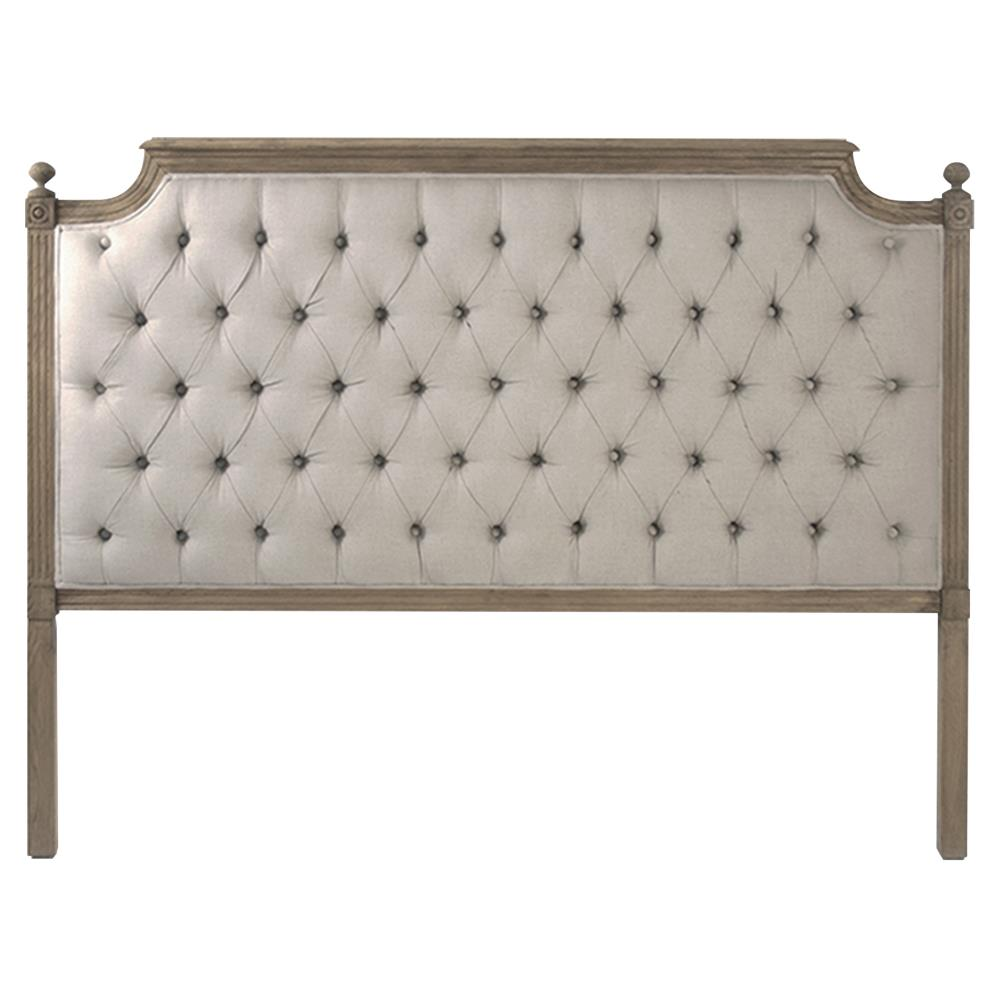 Louis xvi style natural oak linen tufted headboard queen kathy kuo home