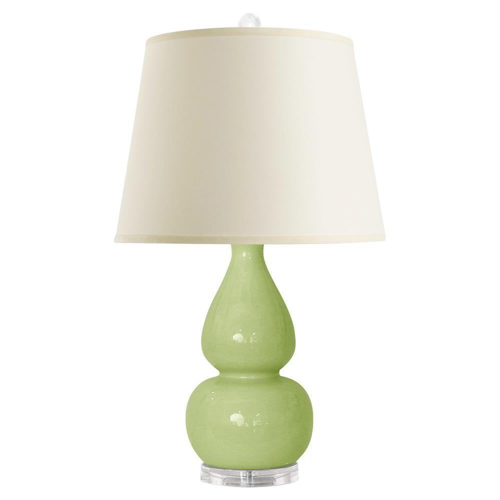Modern Ceramic Vase Table Lamp: Alison Modern Classic Double Gourd Green Ceramic Linen