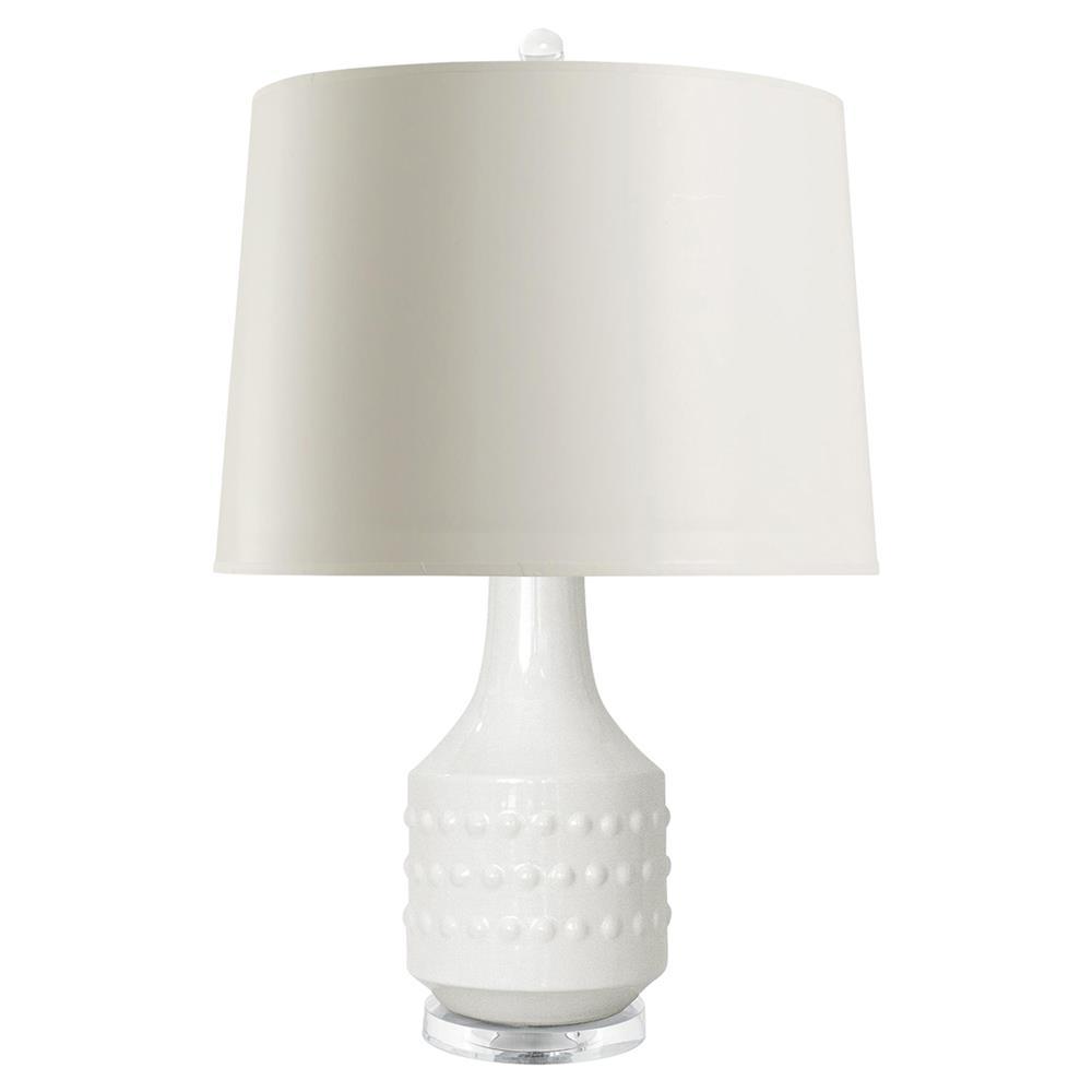 Coquina Coastal Beach White Glazed Ceramic Paper Table Lamp