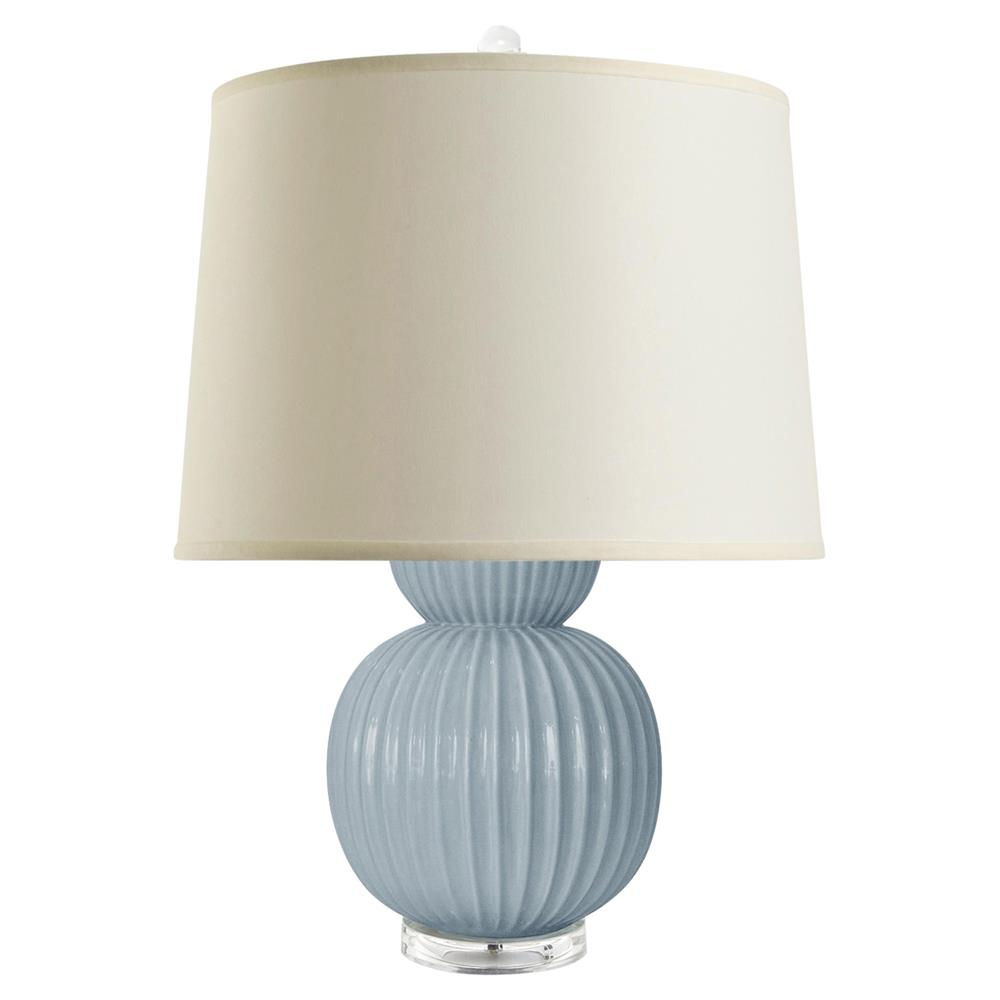 18bfa8c7cdcc Jareth Modern Classic Double Gourd Blue Ceramic Linen Table Lamp | Kathy  Kuo Home ...