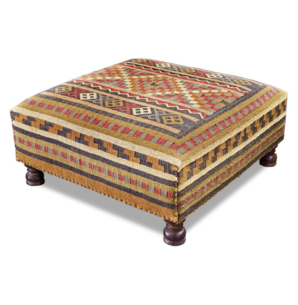 Rae plains southwestern rustic kilim square coffee table ottoman kathy kuo home Large ottoman coffee table