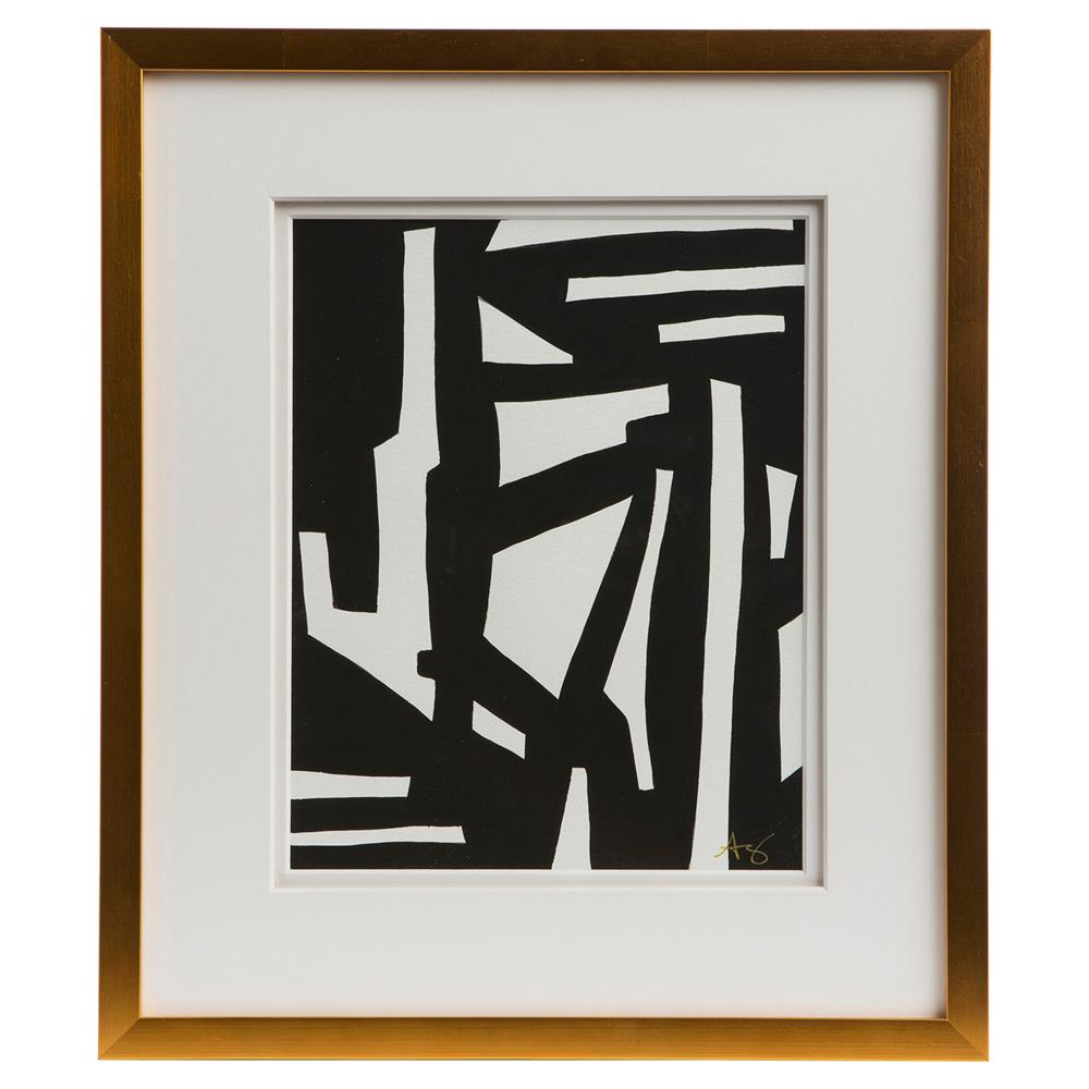 Modern Wall Frame Decor : Peyton modern classic black white gold frame wall art i