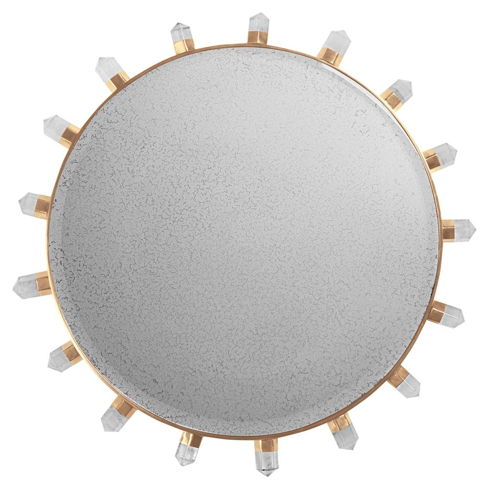 Tori modern classic natural stone accent round wall mirror for Accent wall mirrors