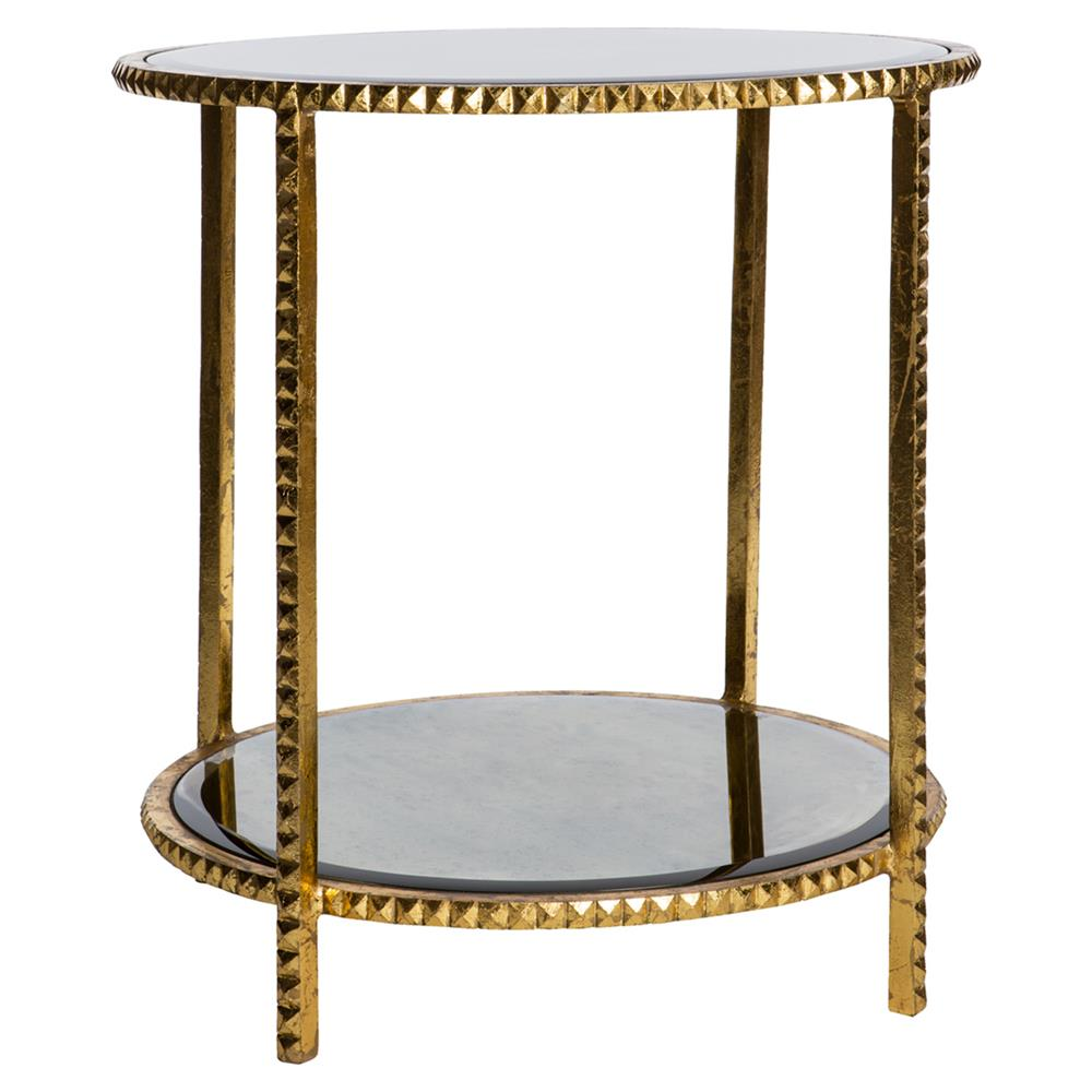 Round gold leaf studded end table with antique mirror for Round gold side table
