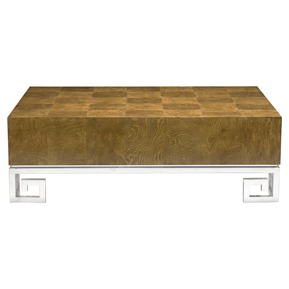 Elegant Mercer Caramel Ash Modern Steel Greek Key Coffee Table | Kathy Kuo Home