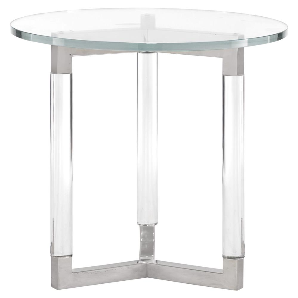 Mercer Acrylic Post Silver Steel Round Glass End Table Kathy Kuo Home