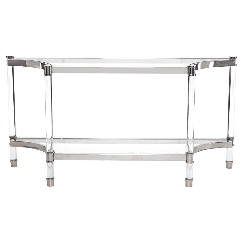 Mercer Acrylic Post Silver Steel Glass Console Table