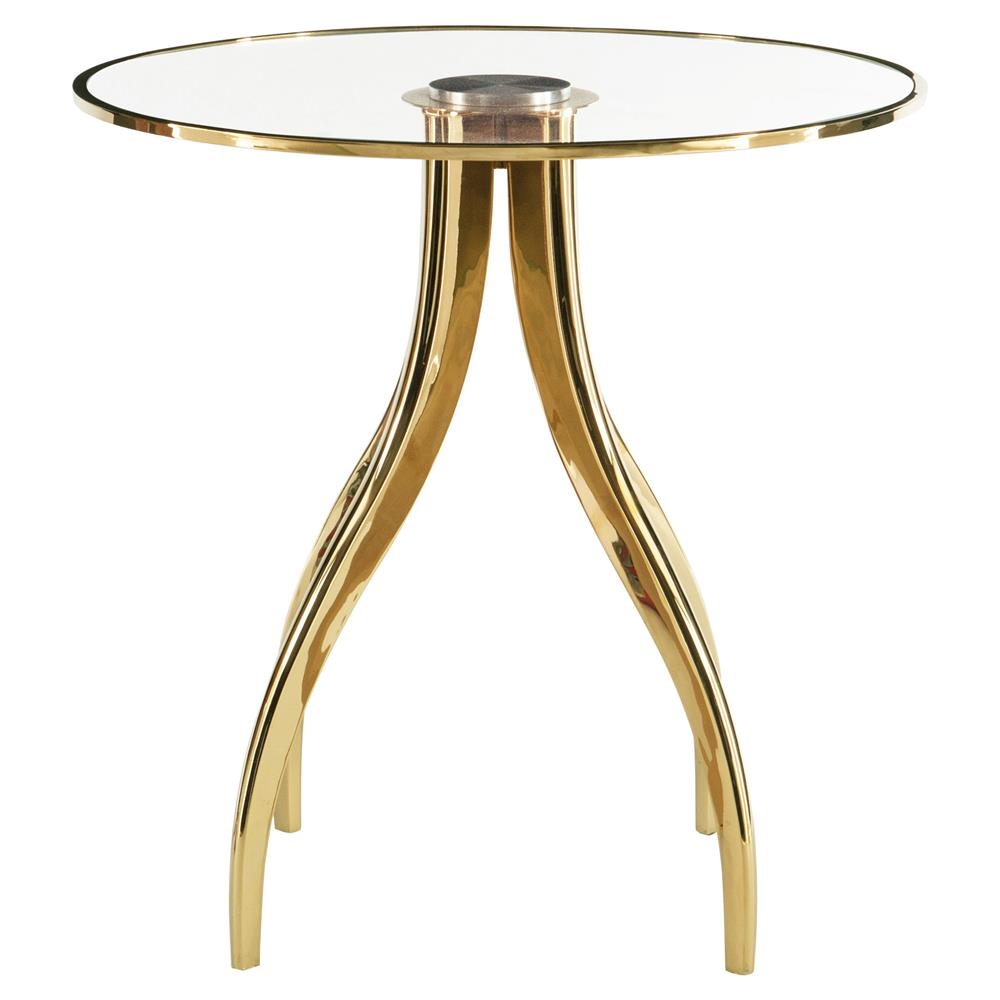 Genoa regency bright brass round gold end table kathy for Round gold side table