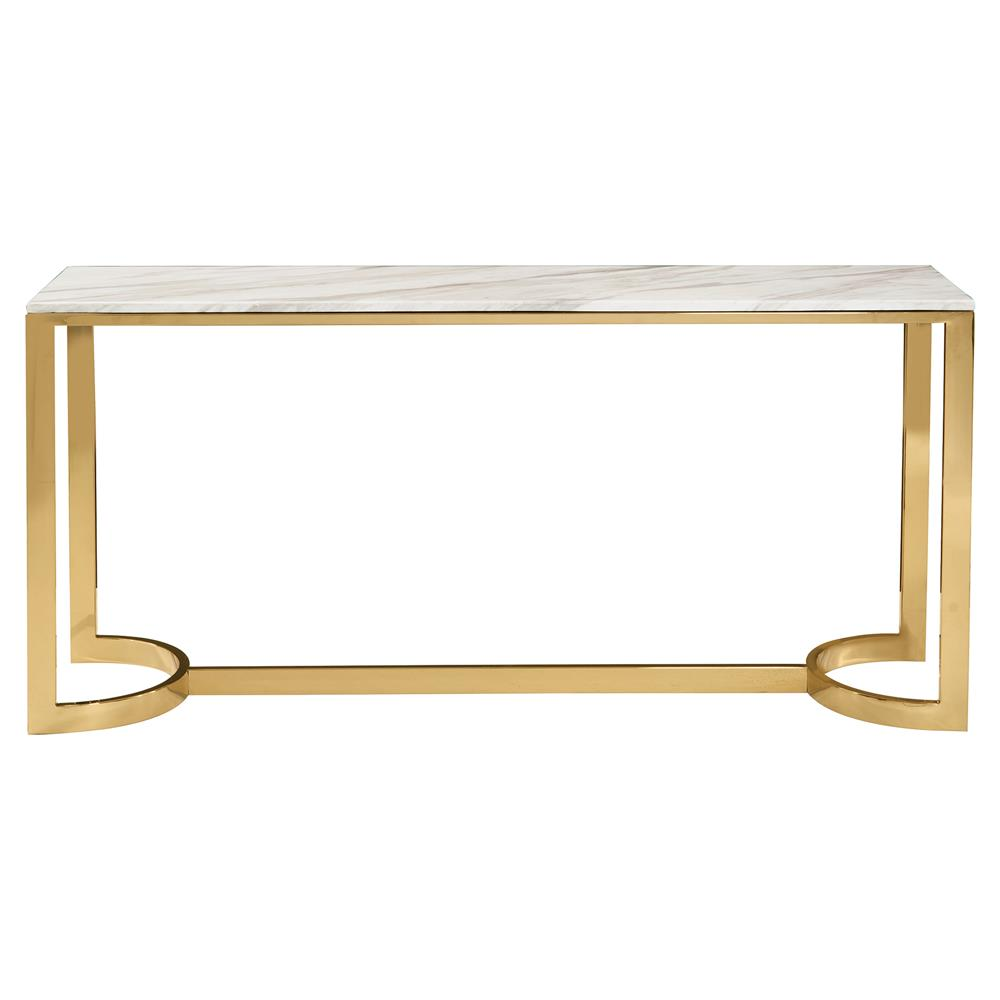 Nata hollywood white marble brass horse shoe console table kathy kuo home