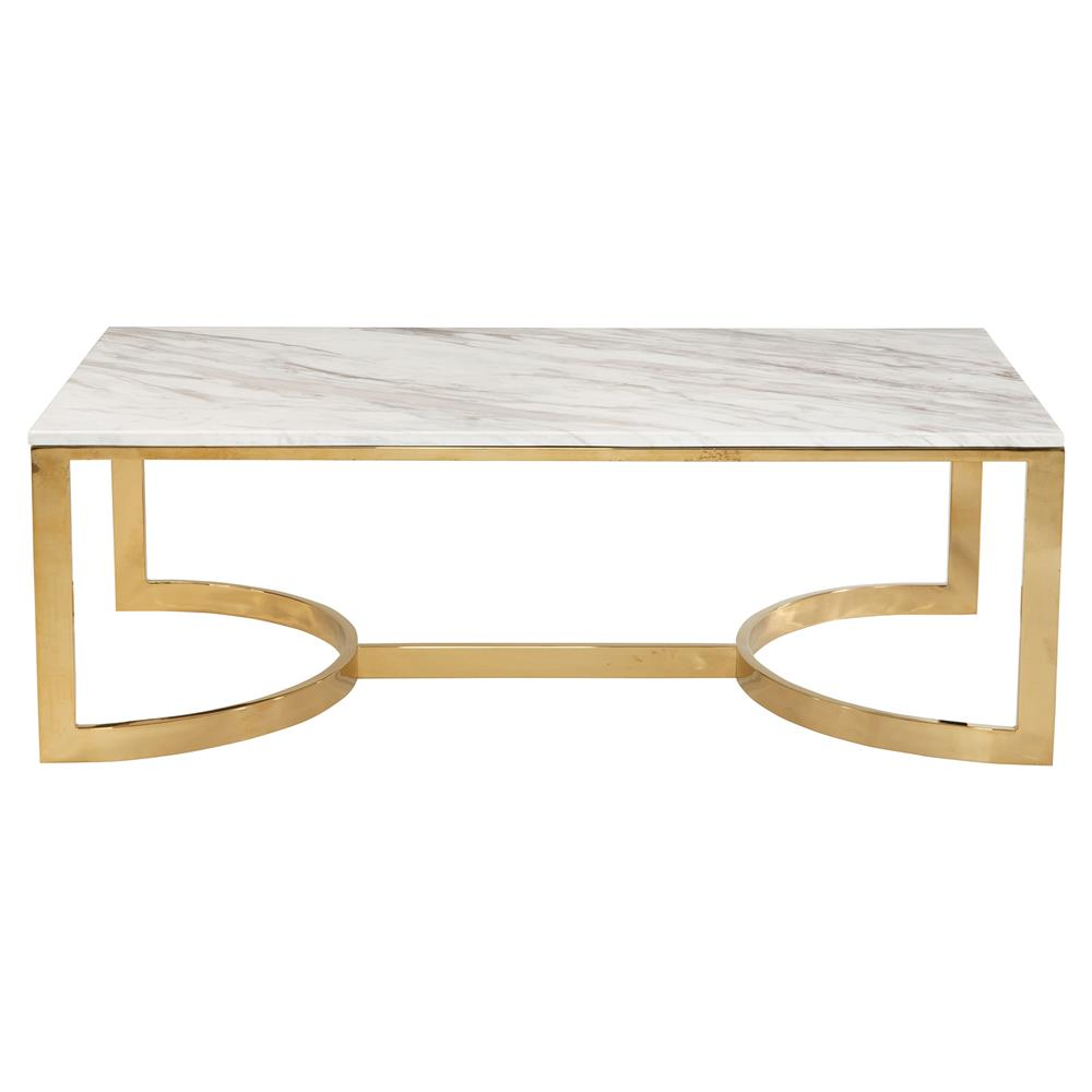 Nata Hollywood White Marble Brass Horse Shoe Coffee Table Kathy Kuo Home