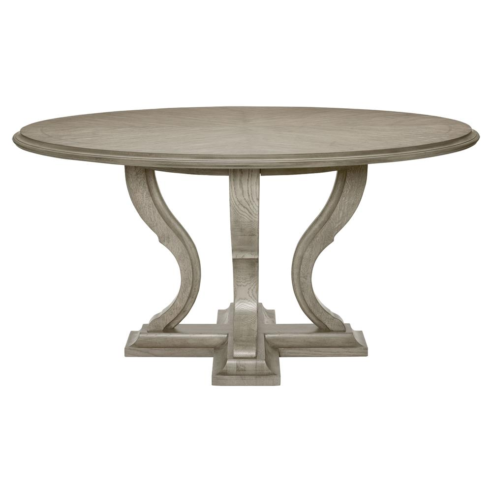 Michelle French Country Grey Oak Round Dining Table Kathy Kuo Home