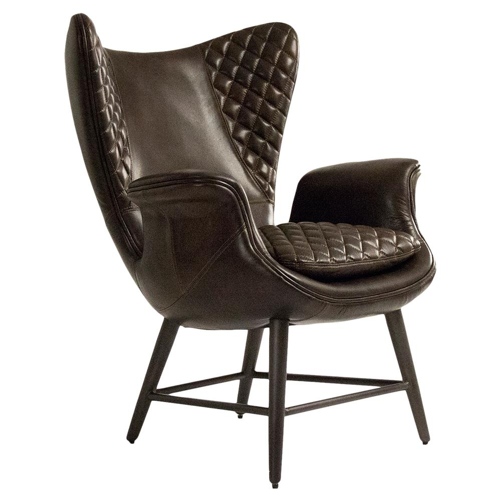 Volker Industrial Walnut Brown Leather Highback Living Room Chair | Kathy  Kuo Home ...
