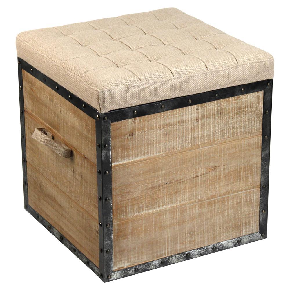 Tirley French Country Teak Wood Metal Trim Burlap Storage Stool ...