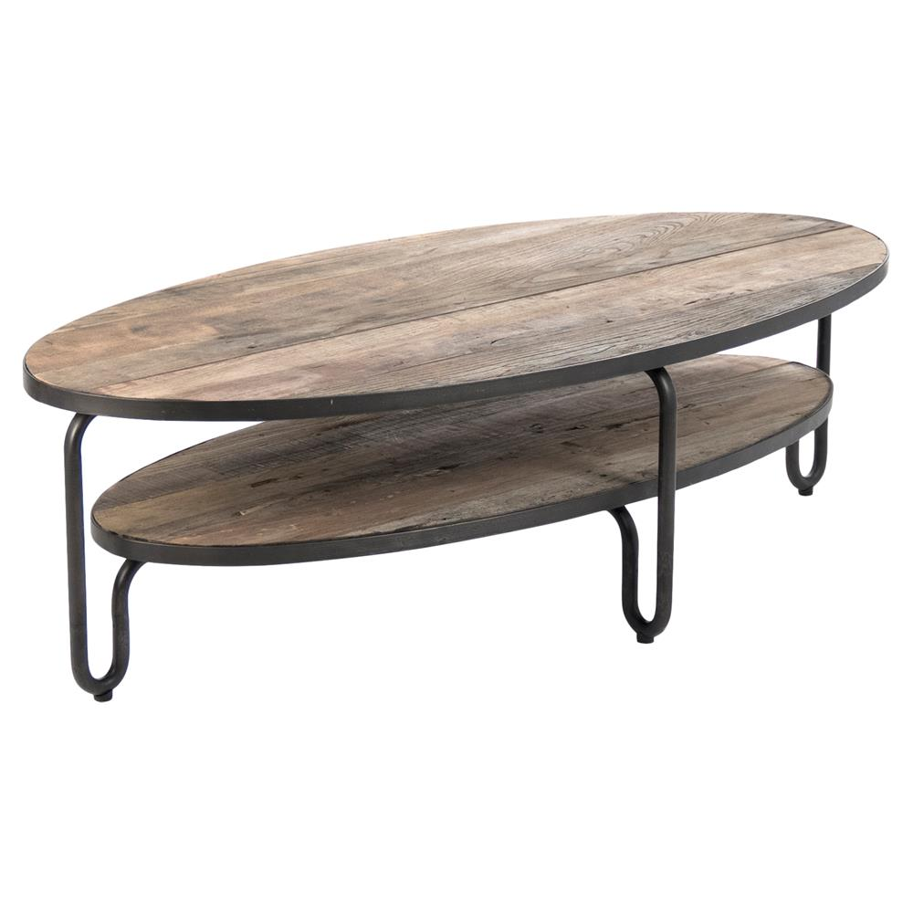 Herten industrial loft rustic wood metal frame oval coffee table kathy kuo home Industrial metal coffee table