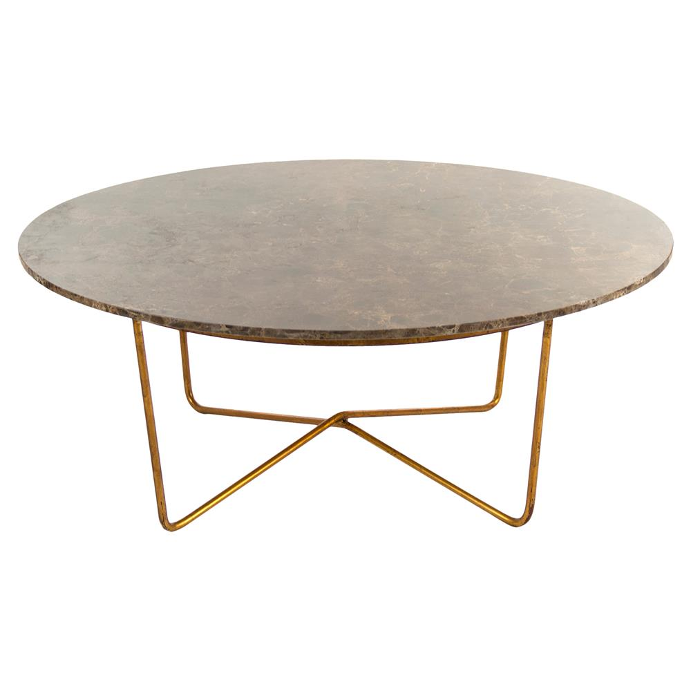 Fonda Hollywood Regency Quartz Gold Round Coffee Table Kathy Kuo Home