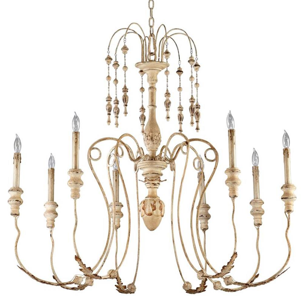 Maison French Country Antique White 8 Light Chandelier | Kathy Kuo Home - Maison French Country Antique White 8 Light Chandelier Kathy Kuo