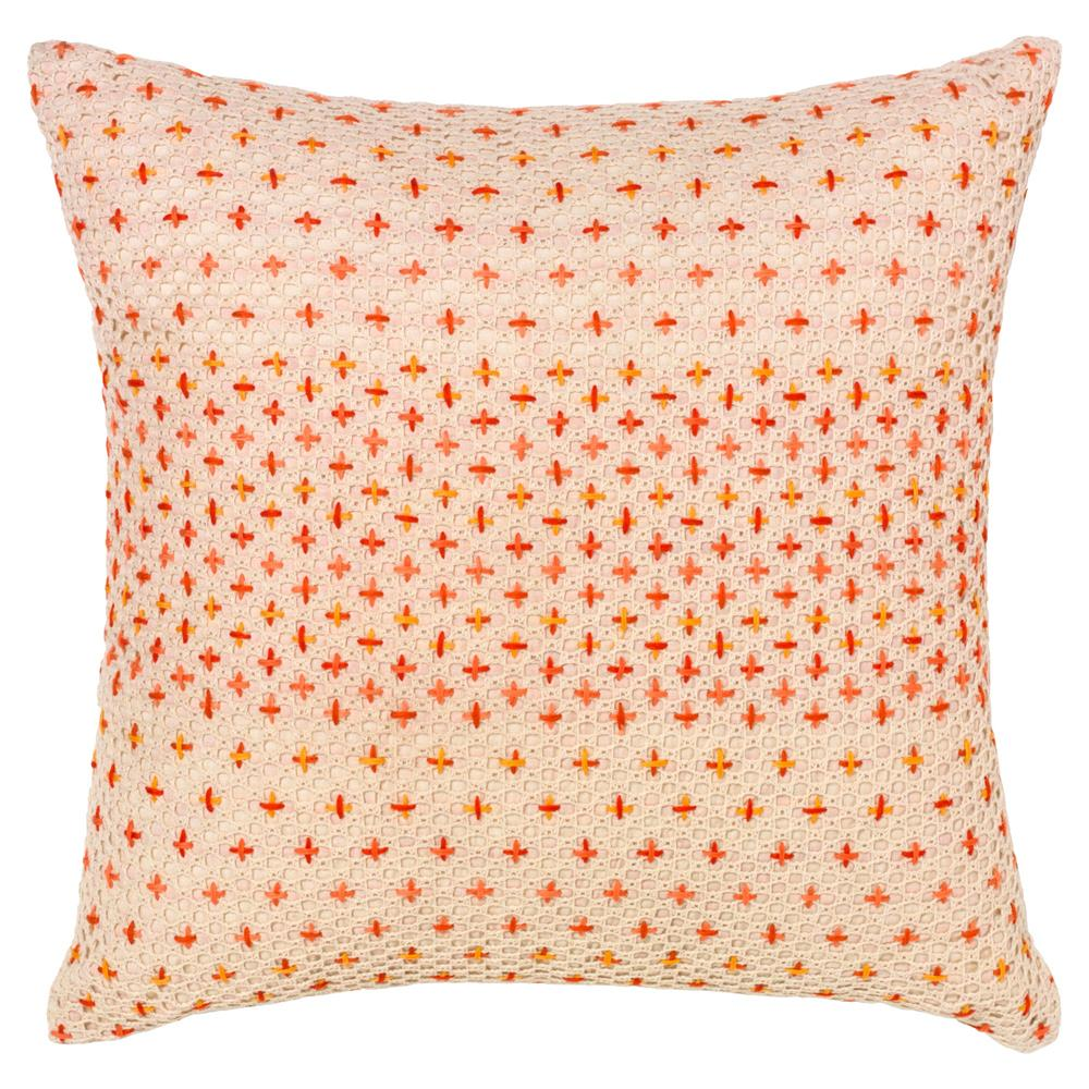Modern Cross Stitch Pillow : Felipa Modern Coral Cross Stitch Pillow - 18x18 Kathy Kuo Home