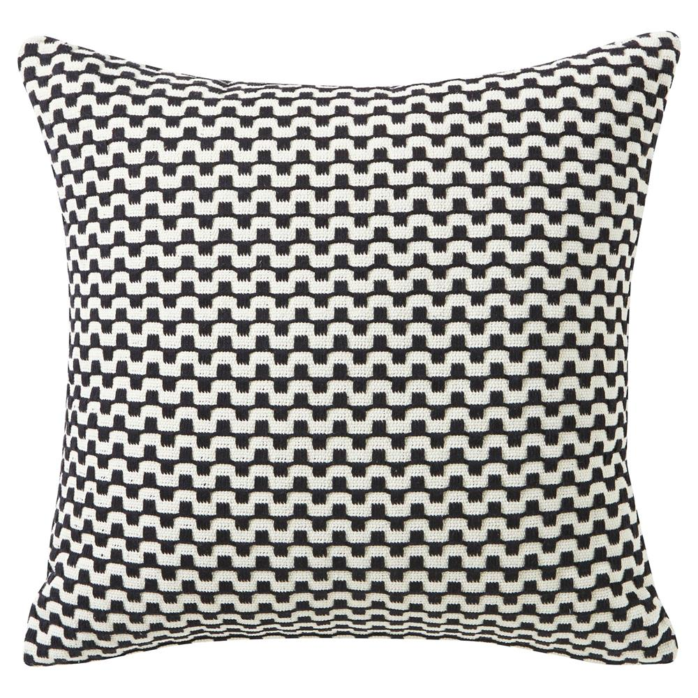 Modern Graphic Pillows : LuLu Modern Classic Black Graphic White Pillow - 18x18 Kathy Kuo Home