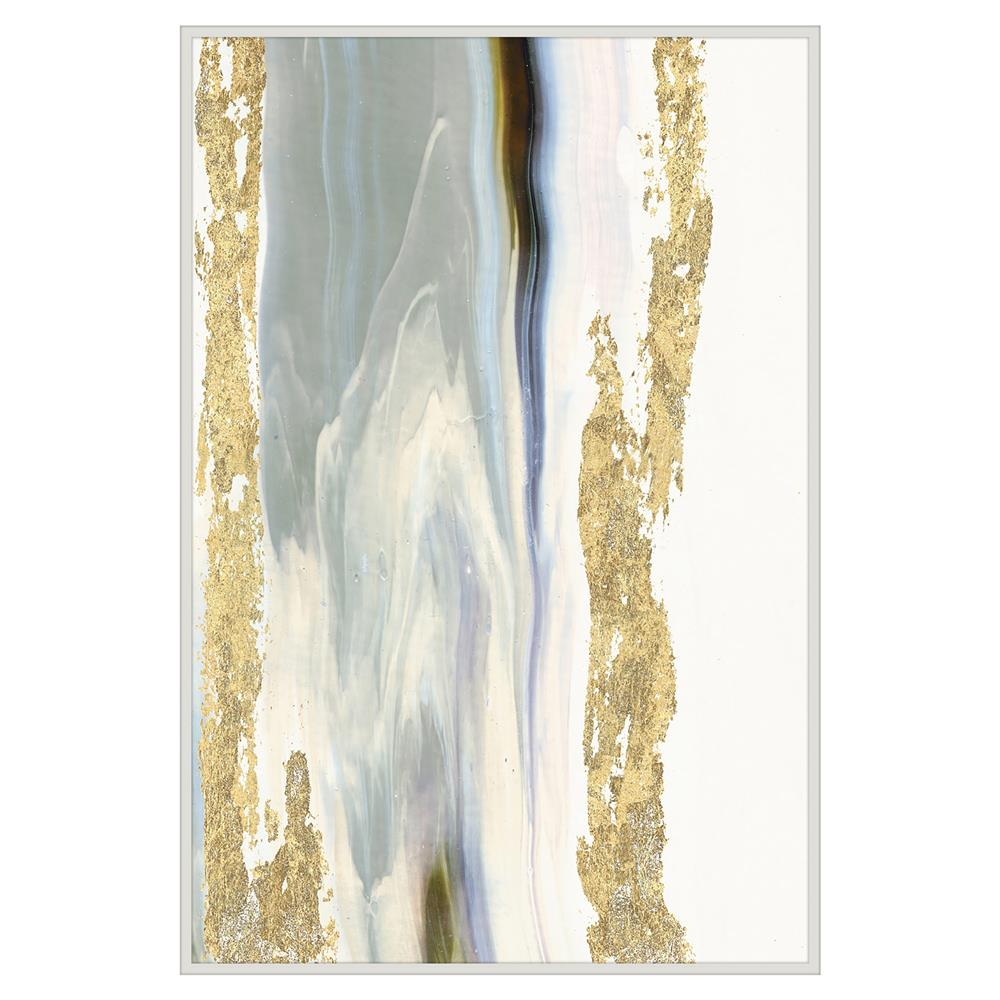 Marble Gold Leaf Abstract Painting White Lacquer Frame Kathy Kuo