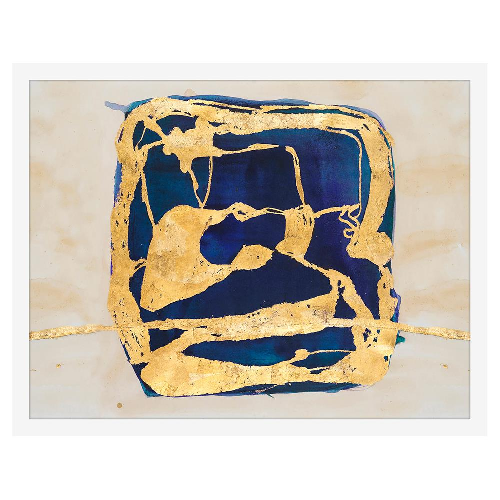 Block Indigo Water Color Gold Leaf Painting - White Lacquer Frame