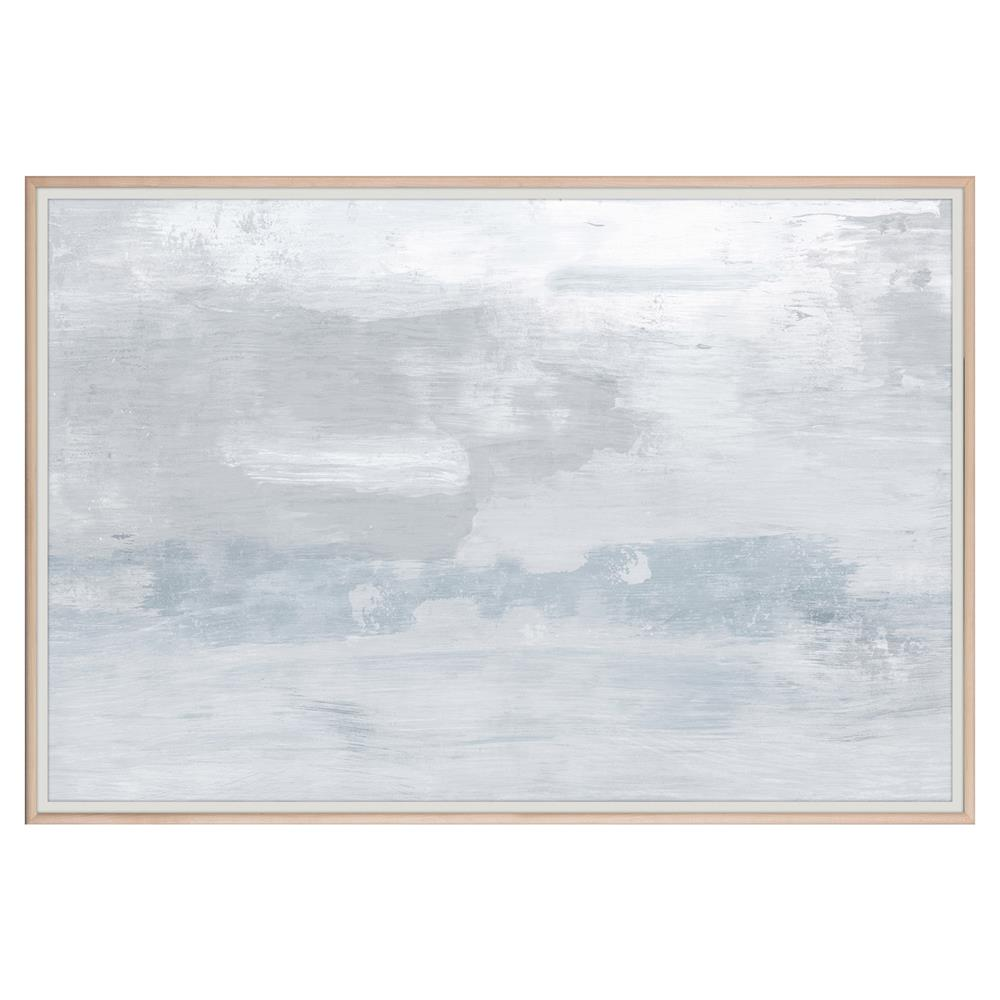 Slate blue cloudy grey abstract painting maple frame