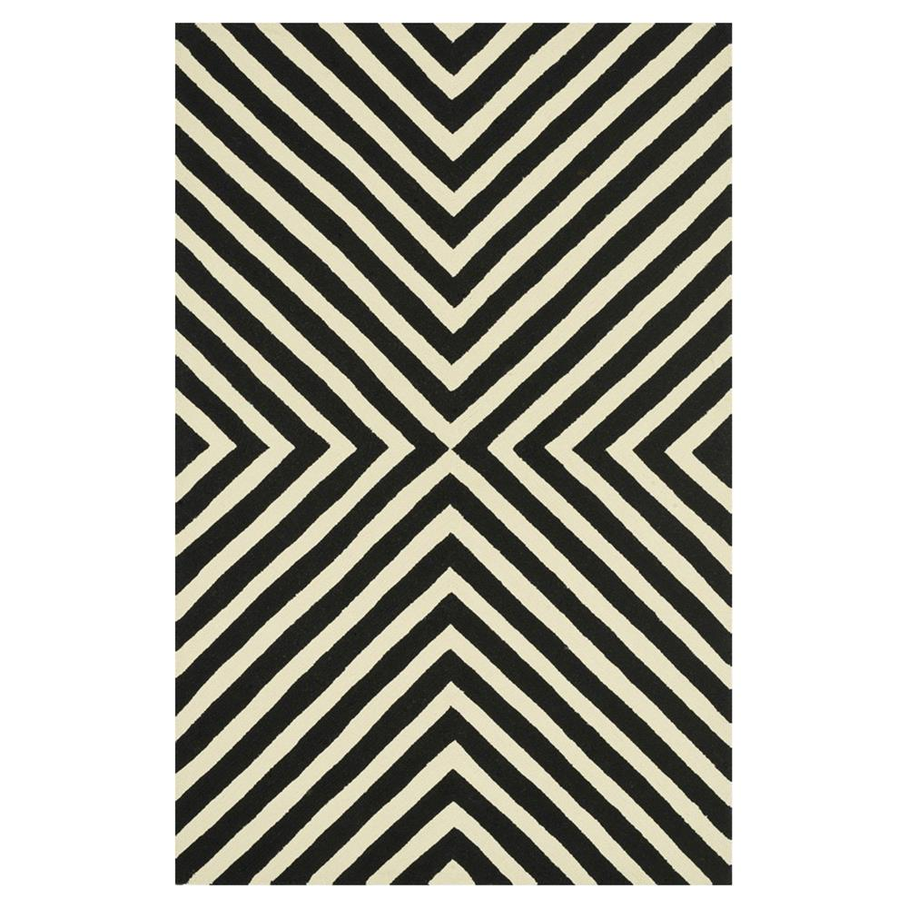 Ilda Modern Black White Graphic Outdoor Rug 36x56 Kathy Kuo Home