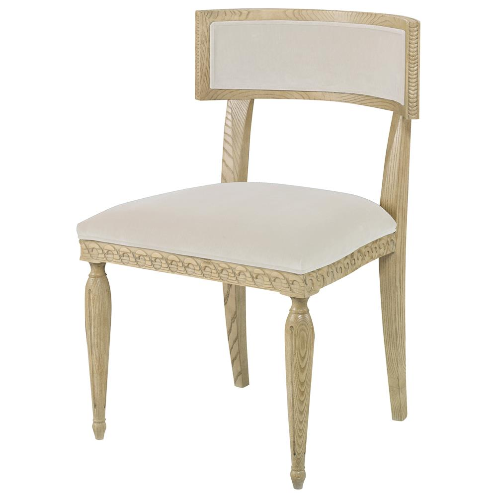Mr Brown Delphi Coastal Grey Ash Side Chair Snow White Velvet Kathy Kuo