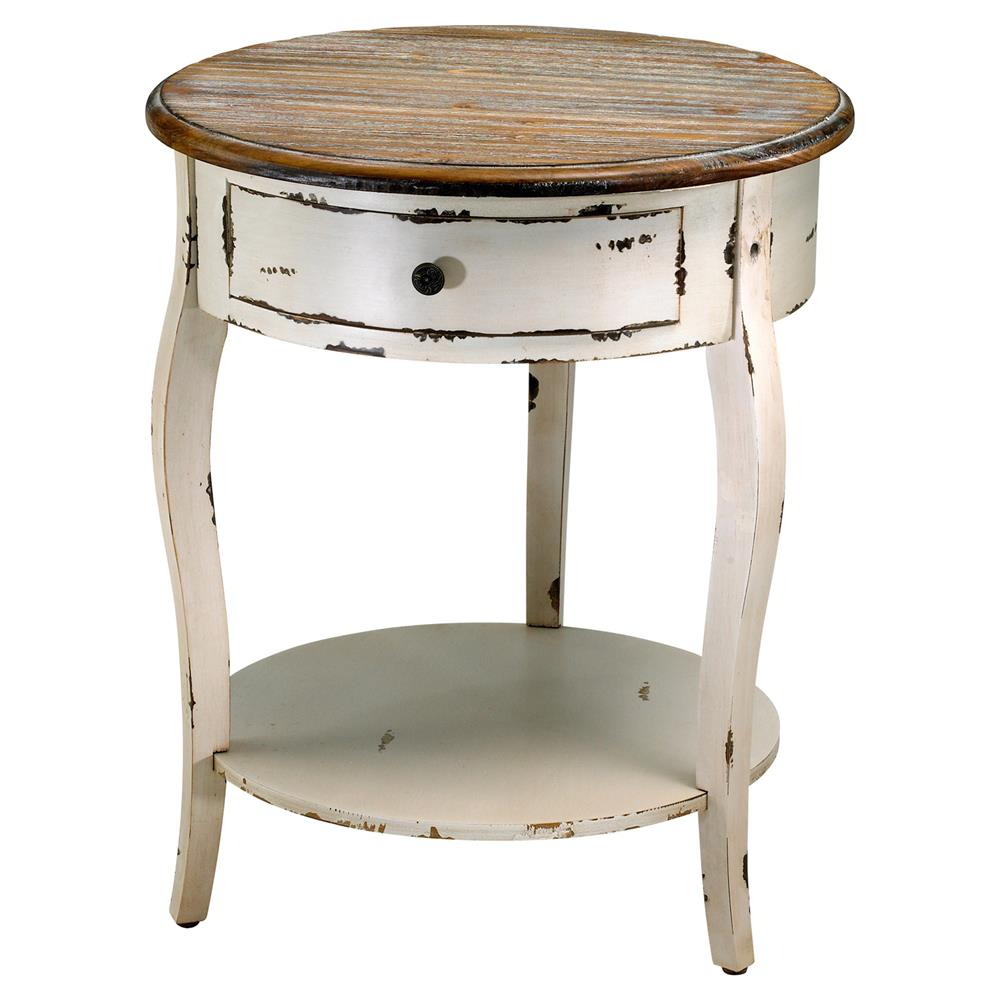 Olevi French Rustic Ivory Round Wood End Table Kathy Kuo