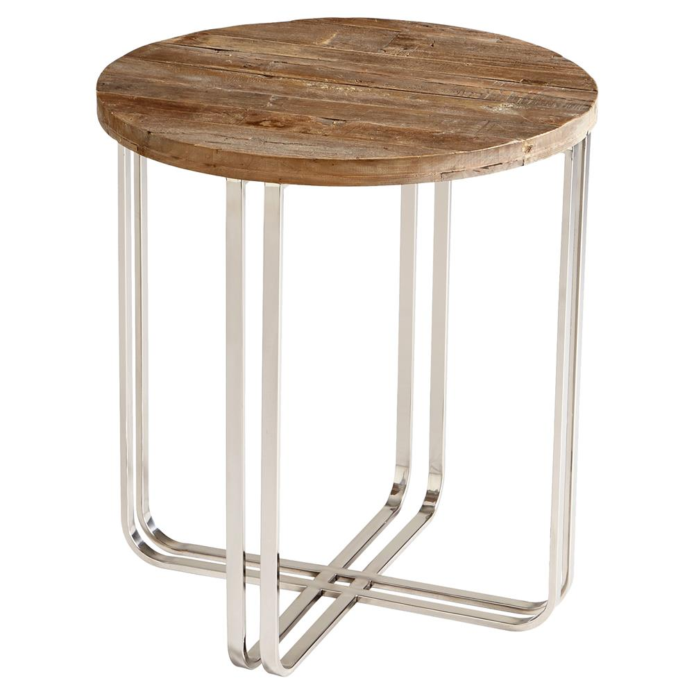 Rustic Wood Side Table ~ Trose rustic industrial wood silver end table kathy kuo home