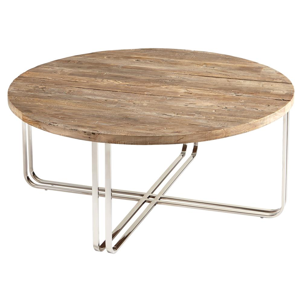 Trose Rustic Industrial Wood Silver Coffee Table Kathy Kuo Home