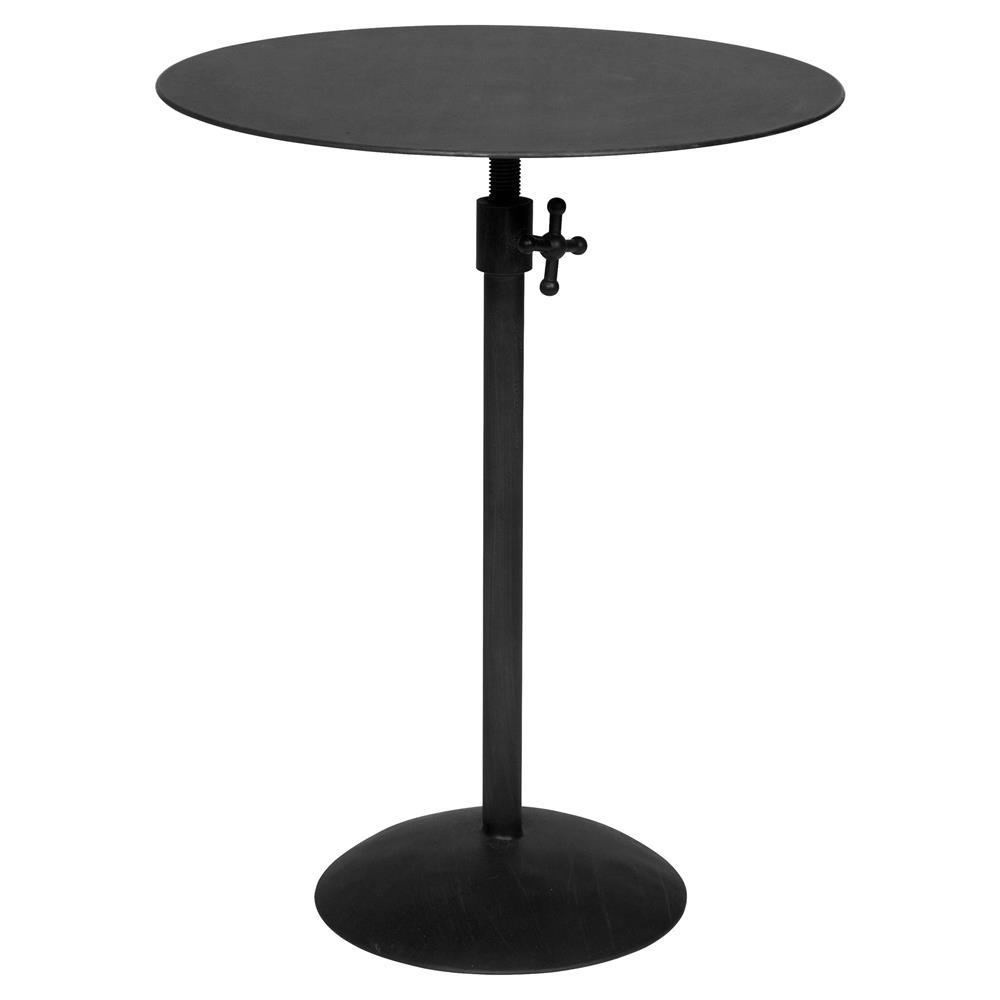 Ahren Industrial Loft Matte Black Metal Round Side Table