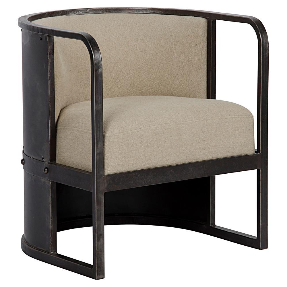 Burgess Industrial Black Metal Hemisphere Living Room Chair