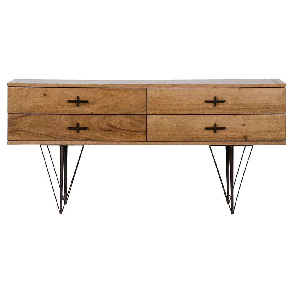 kaine rustic lodge dark walnut metal triangle sideboard. Black Bedroom Furniture Sets. Home Design Ideas