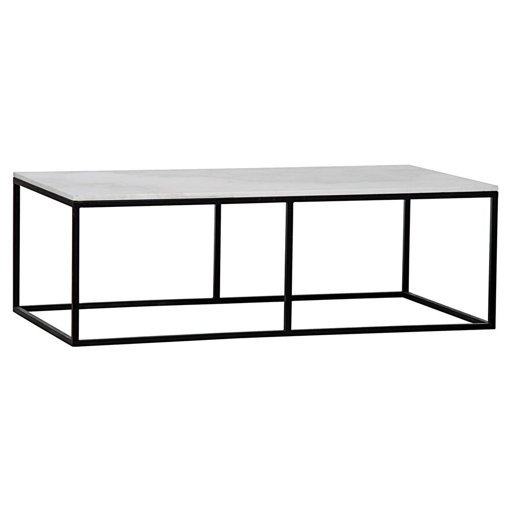 Coen Industrial Black Metal Outline White Stone Coffee Table