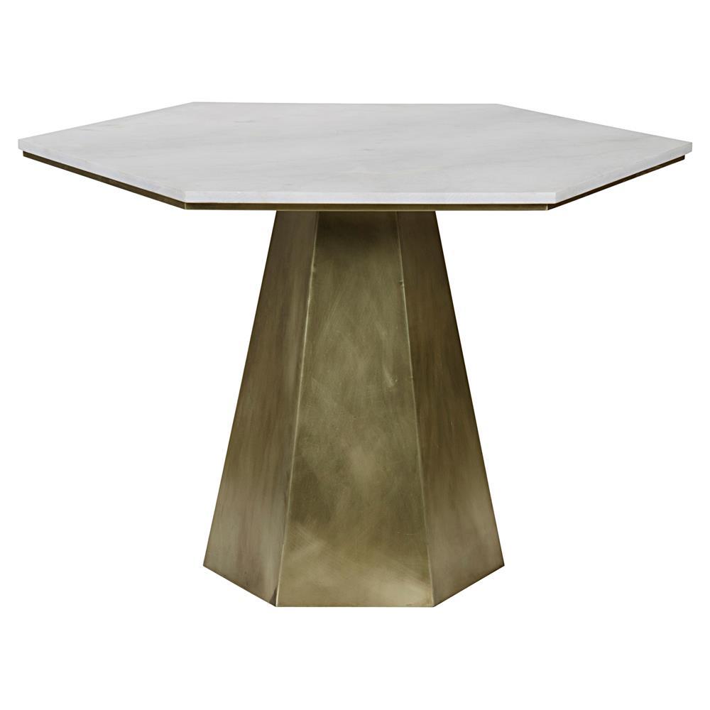 Harding Modern White Quartz Antique Brass Hexagon Bistro Table | Kathy Kuo  Home ...