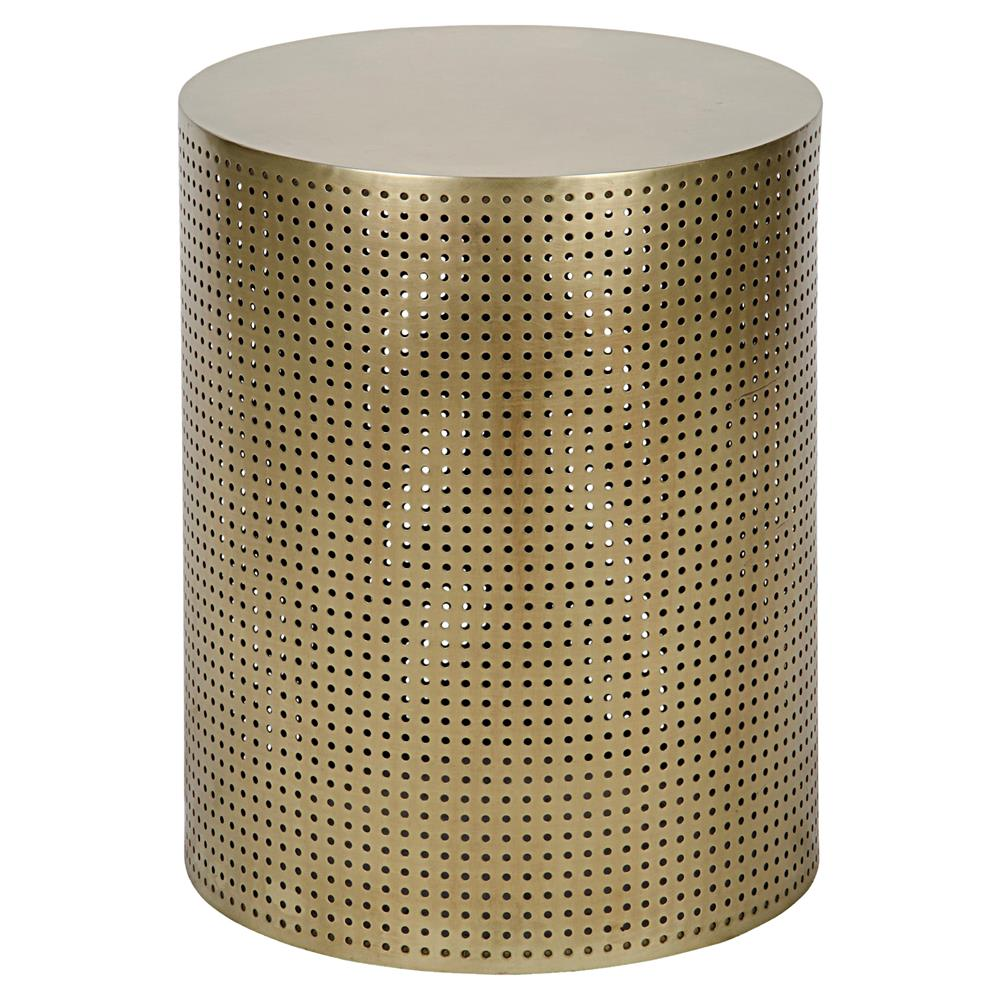 Bon Orelia Modern Gold Brass Metal Mesh Drum Side Table   20.5H | Kathy Kuo Home
