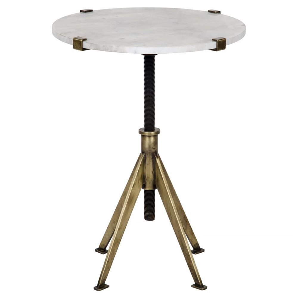 gaines modern white quartz brass adjustable small side table. Black Bedroom Furniture Sets. Home Design Ideas