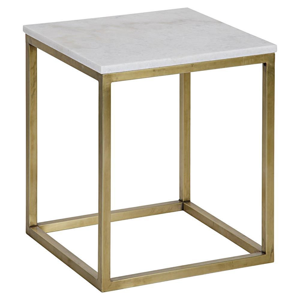 Thurston modern brass metal cube white quartz side table 18h Modern side table