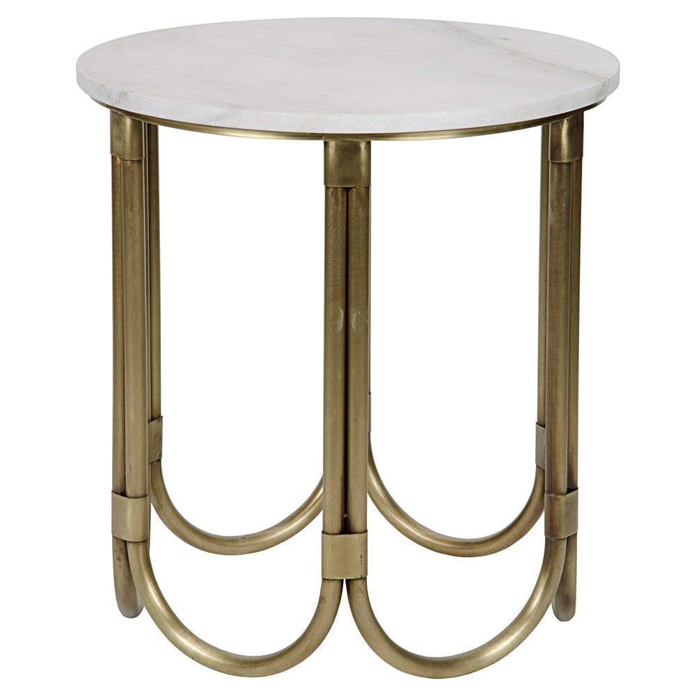 Bernadine Modern Antique Brass Round Bottom Side Table