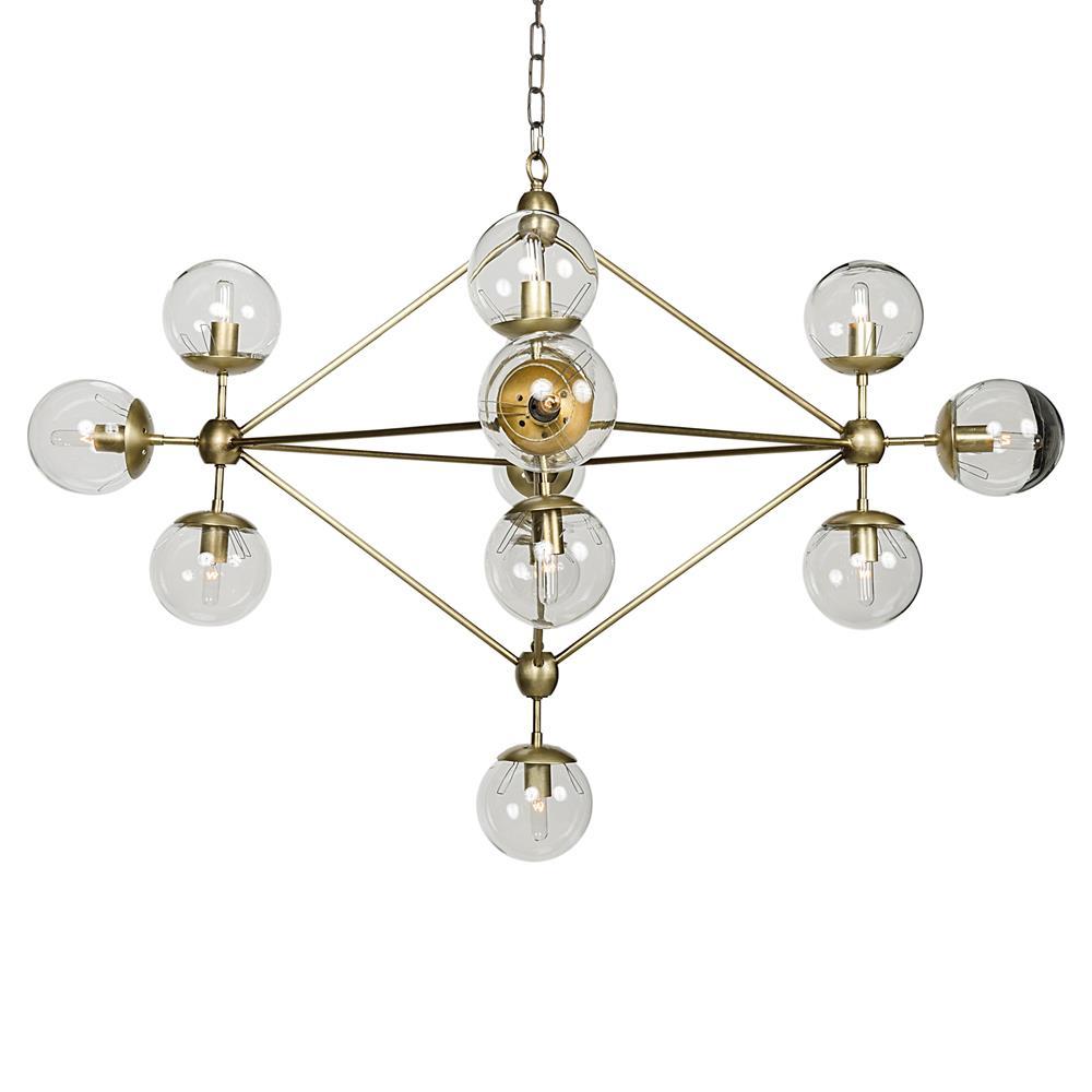 Mid Century Orb Lamp: Orion Mid Century Antique Brass Metal Constellation Orb