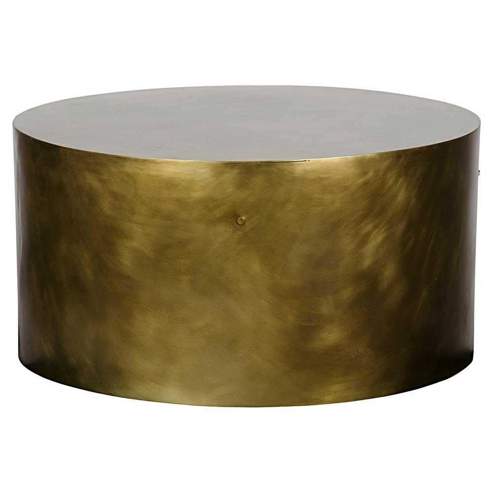 Palladio Modern Antique Brass Cylinder Drum Coffee Table | Kathy Kuo Home