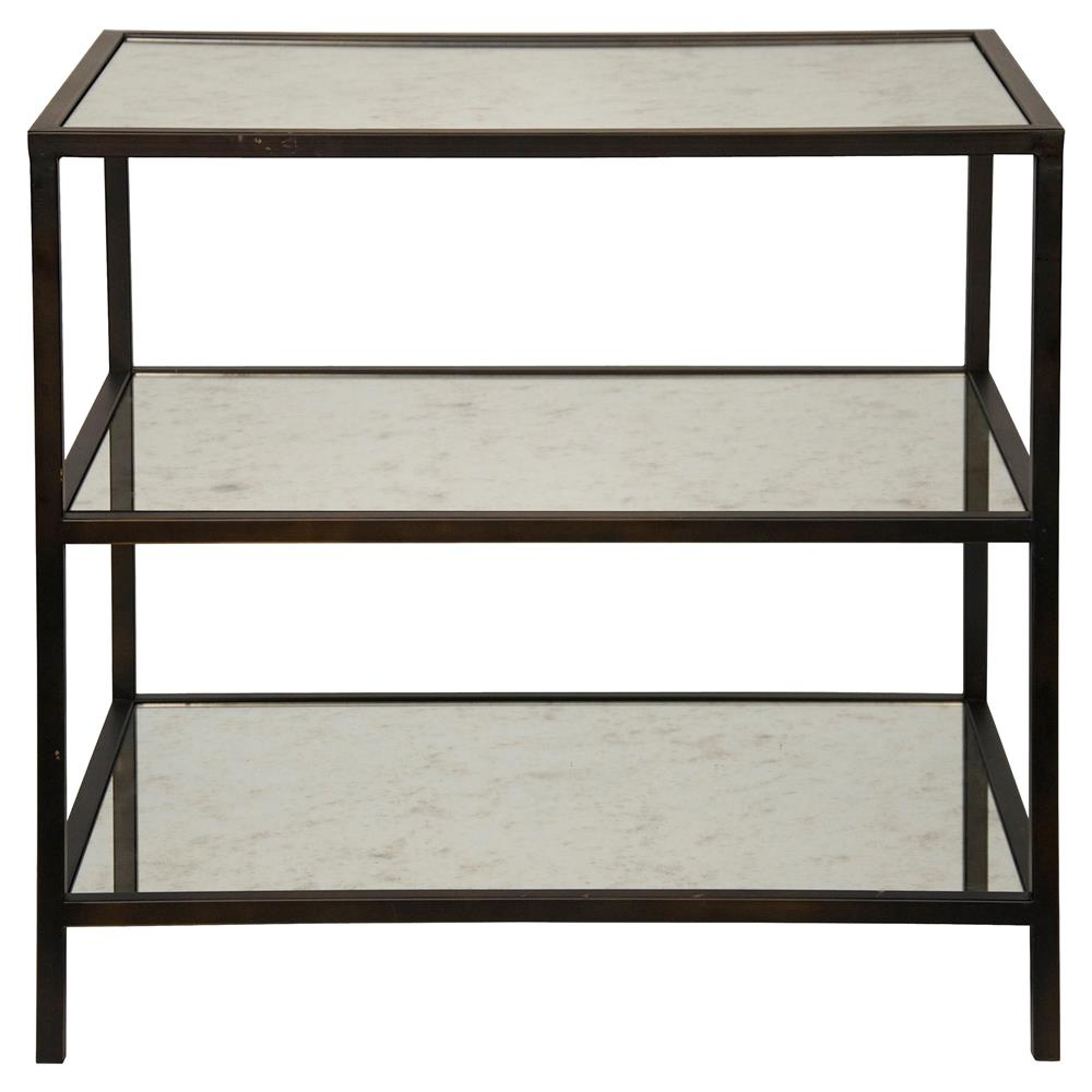 Charming Randy Modern Black Metal Antiqued Mirror Shelf 3 Tier Side Table | Kathy  Kuo Home